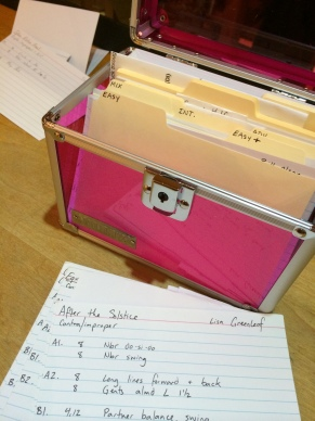 Prepping for my second full evening with my new (and obnoxiously pink) card box - Feb. 2014