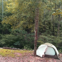 First pitched tent of the trip - Hot Springs National Park, AR.